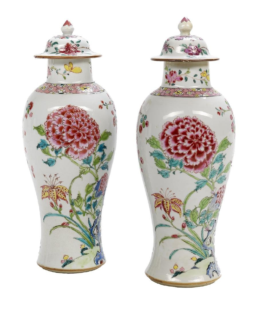 Pair of Chinese Export Famille Rose Vases