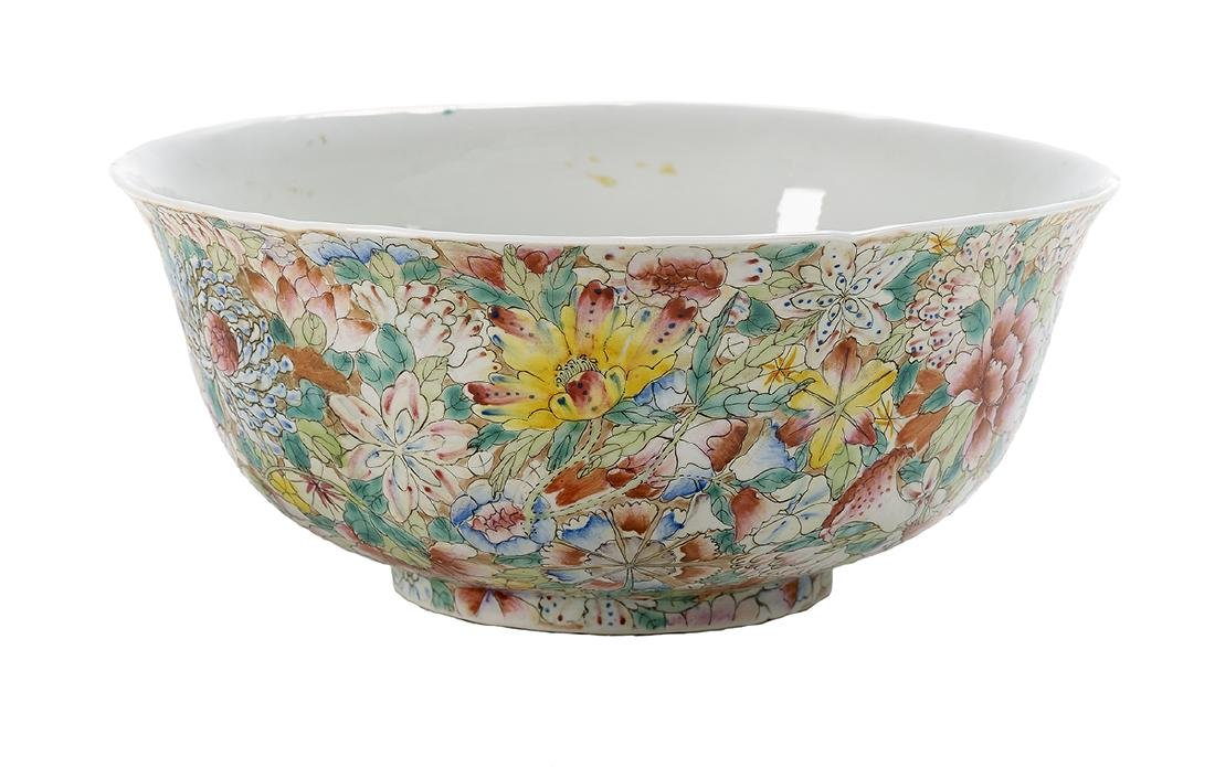 "Chinese Enameled Porcelain ""Millefleur"" Bowl"