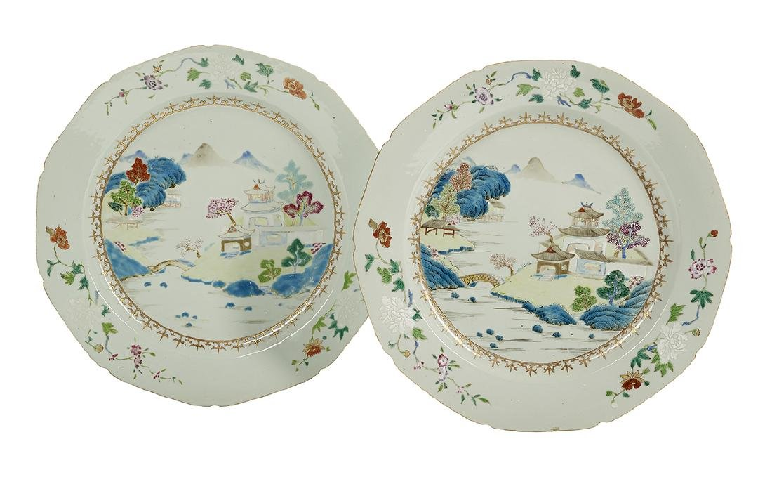Pair of Chinese Export Famille Rose Chargers