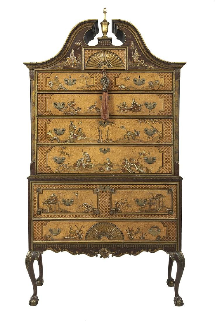 George III-Style Polychrome Secretary Highboy