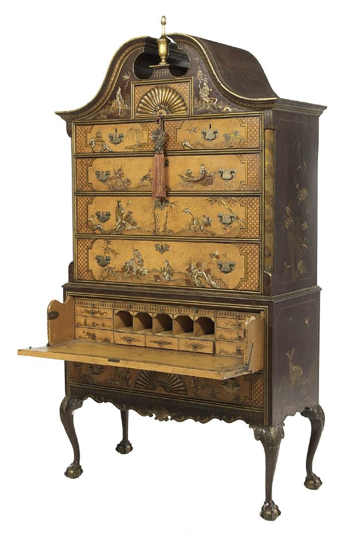 George III-Style Polychrome Secretary Highboy - 2