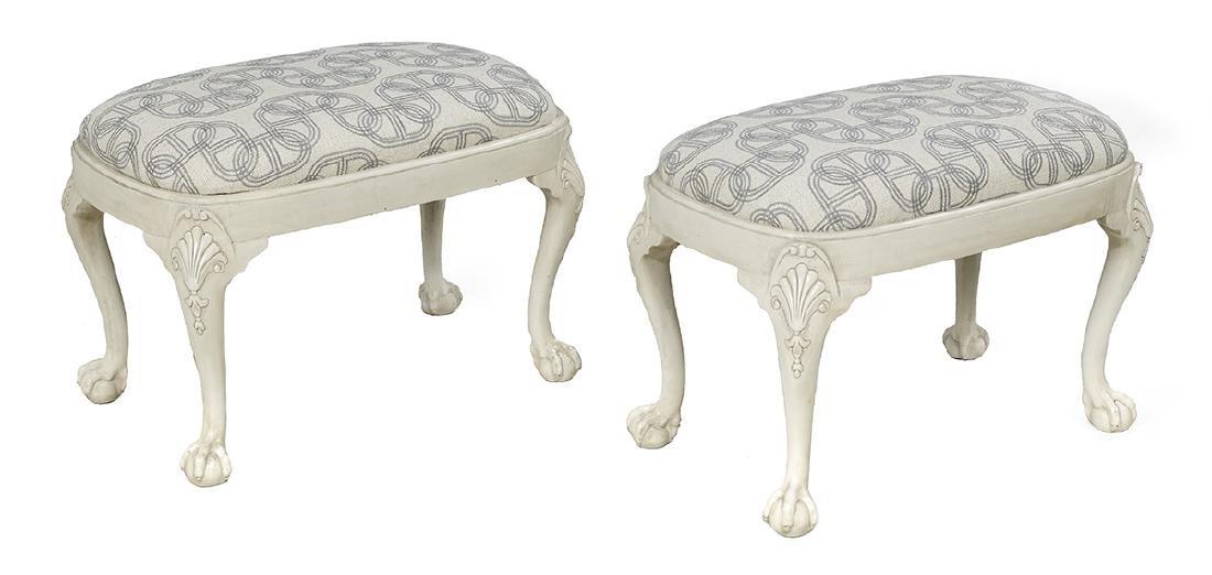 Pair of George III-Style Polychrome Stools