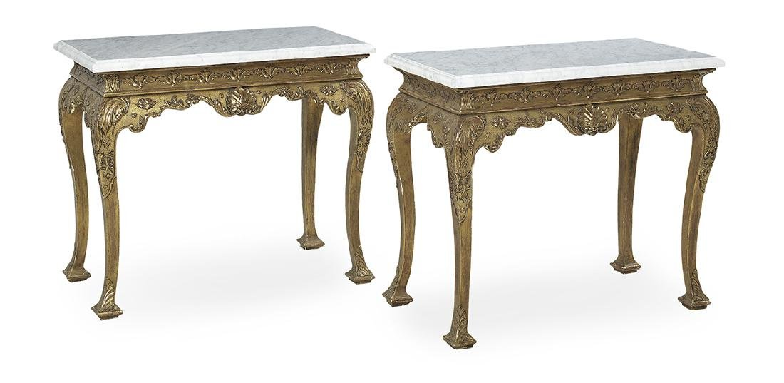 Pair of George III-Style Marble-Top Side Tables