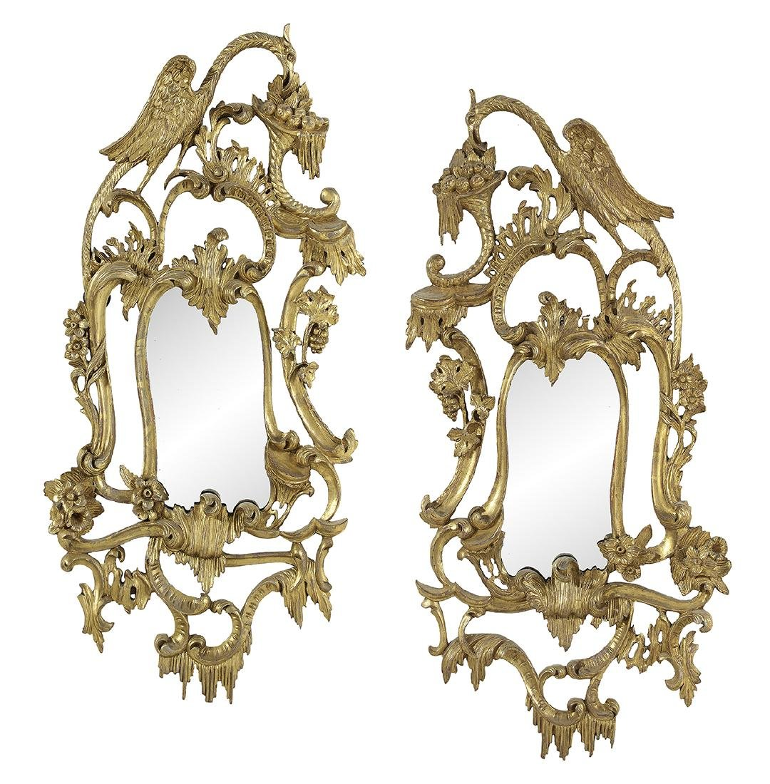 Pair of Chippendale-Style Giltwood Mirrors