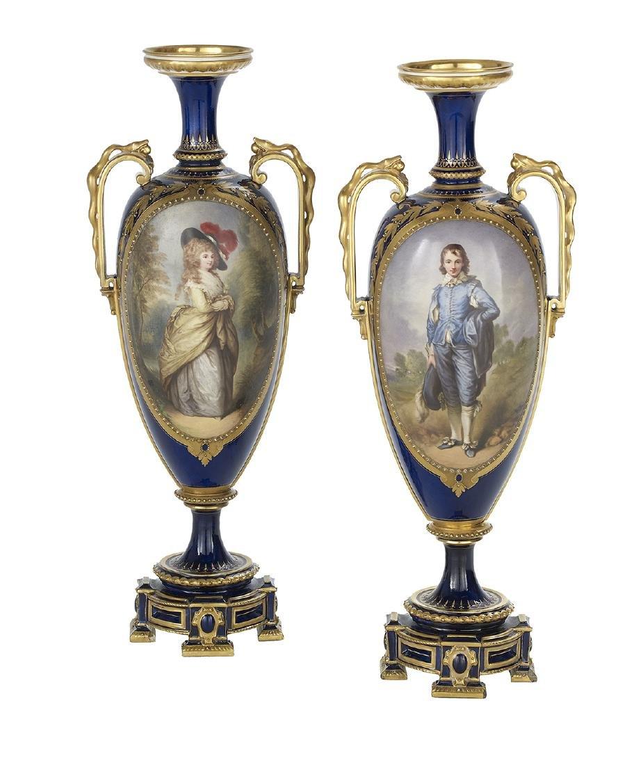 Pair of English Portrait Vases After Gainsborough