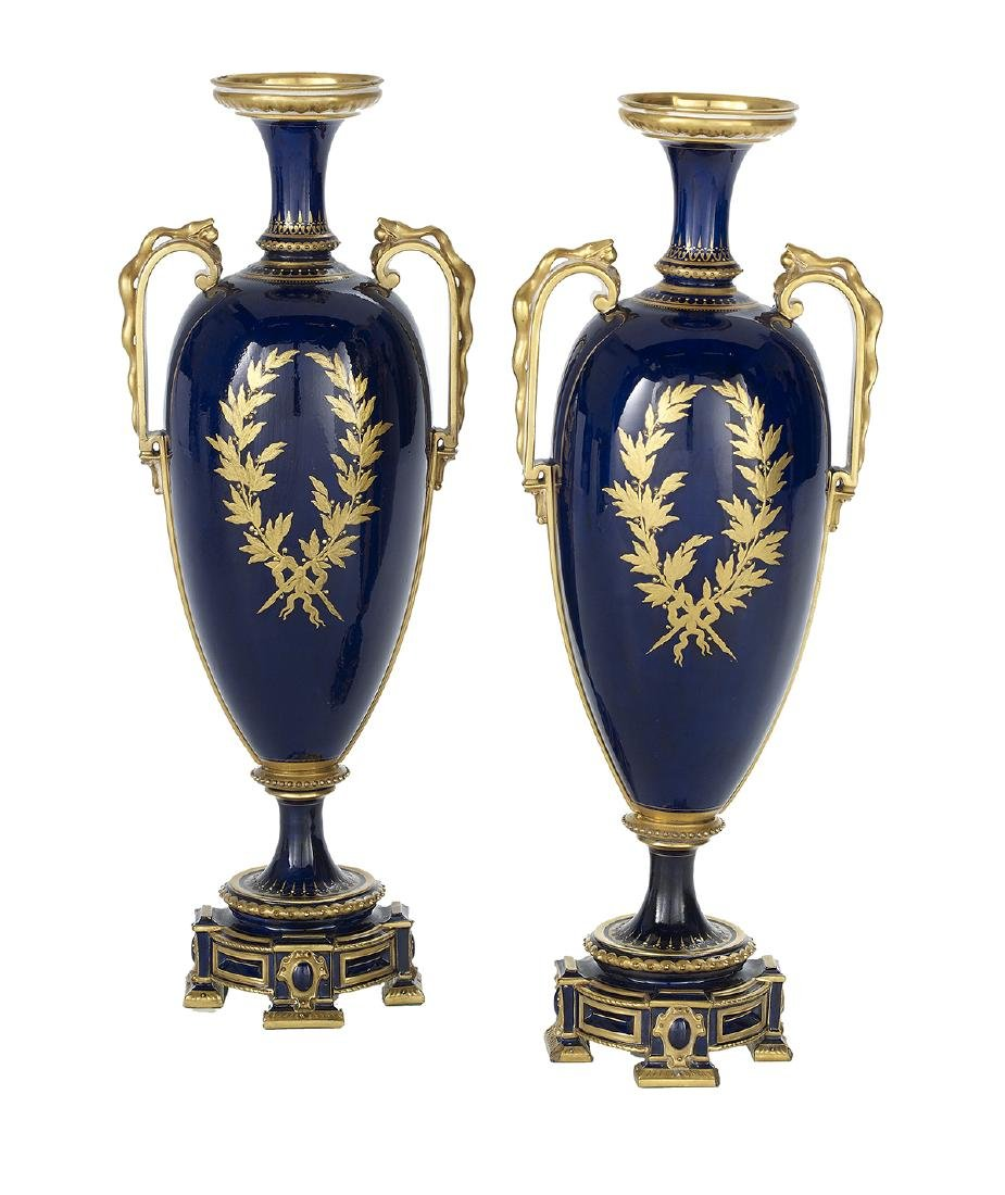 Pair of English Portrait Vases After Gainsborough - 2
