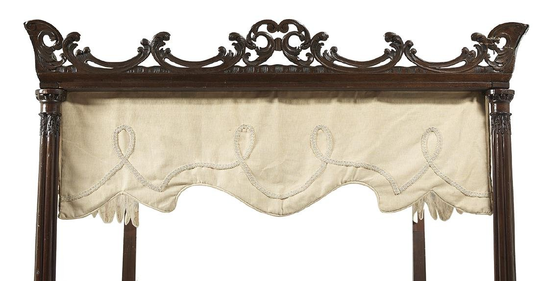 Chippendale-Style Carved Mahogany Four-Post Bed - 2