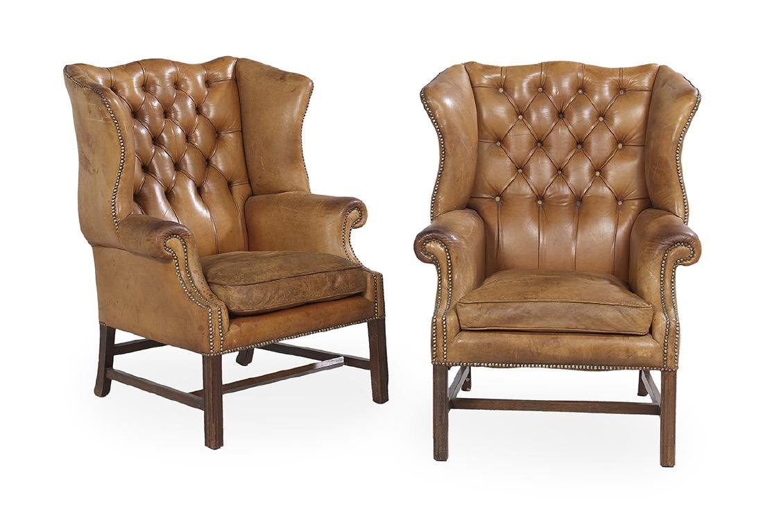 Pair of George III-Style Mahogany Wing Chairs