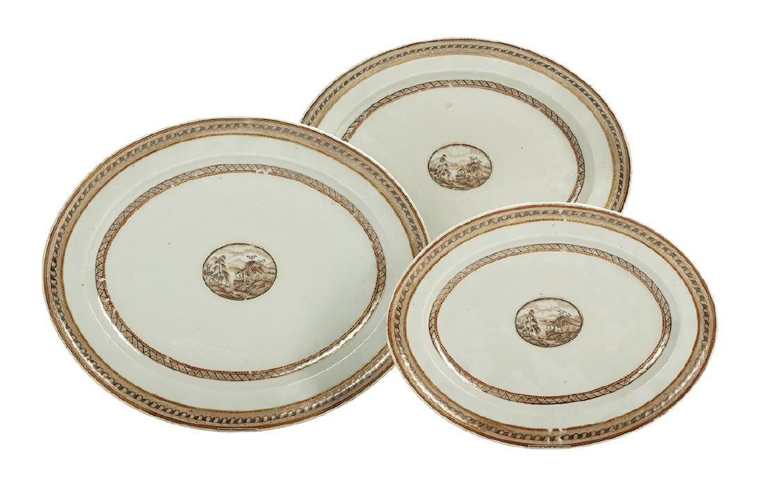 Three Chinese Export Porcelain Graduated Platters
