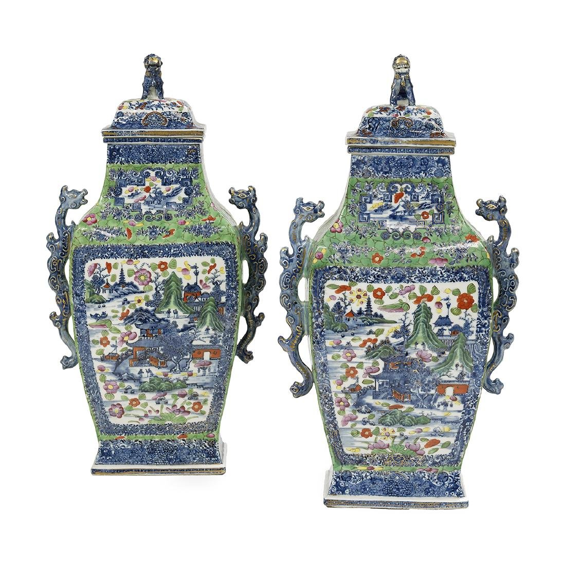 """Pair of Chinese Export """"Clobbered"""" Vase"""