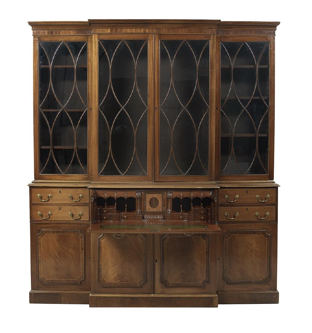 George III-Style Mahogany Breakfront Bookcase