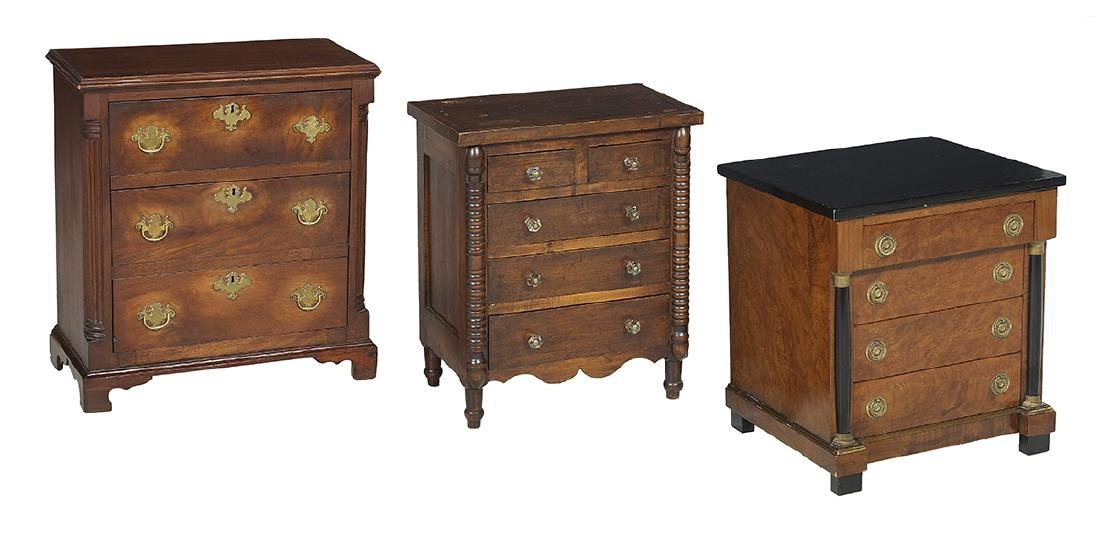 Collection of Three Miniature Mahogany Chests