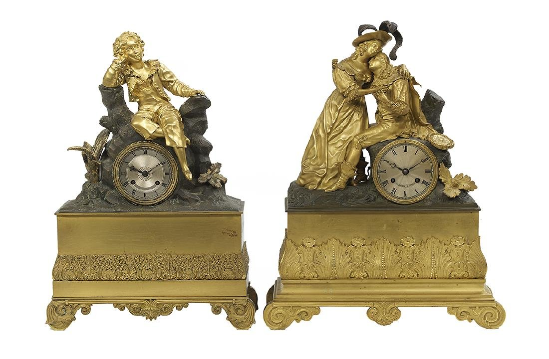 Two French Bronze Figural Mantel Clocks