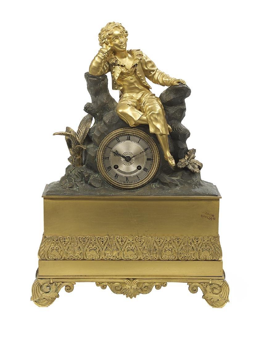 Two French Bronze Figural Mantel Clocks - 2