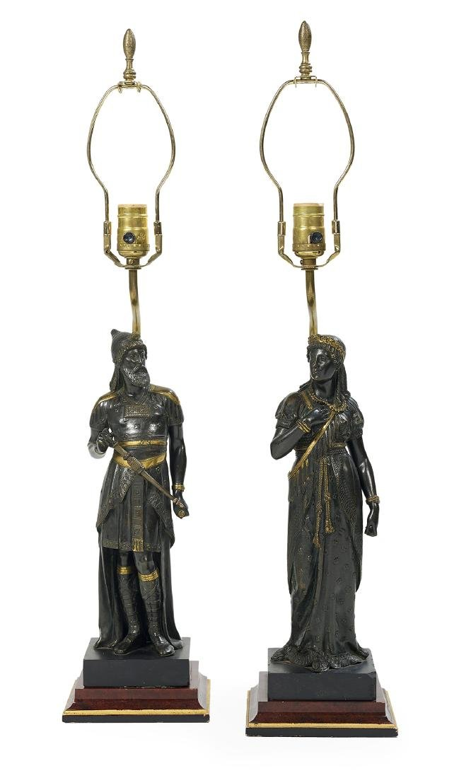 Pair of Bronze Garniture Figures of Dignitaries