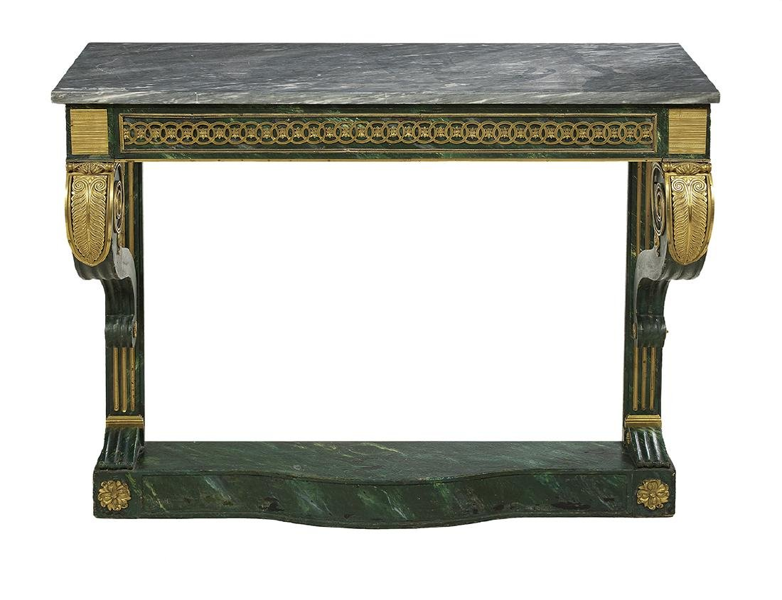 Empire Polychrome and Marble-Top Side Table