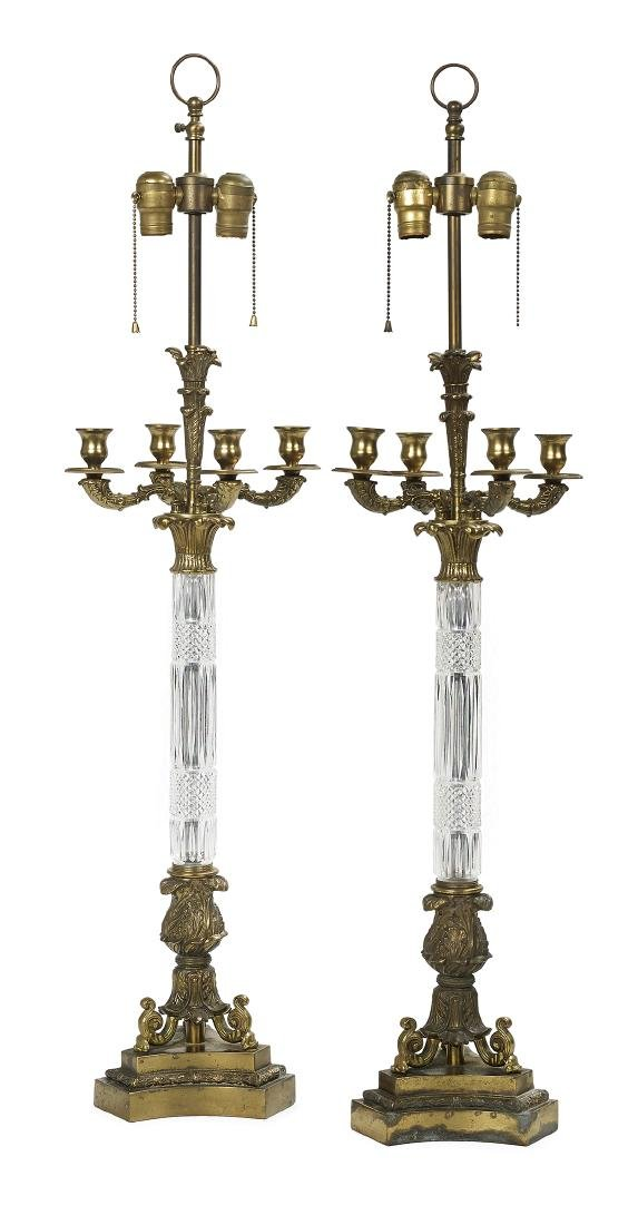 Pair of Empire-Style Brass and Cut Crystal Lamps