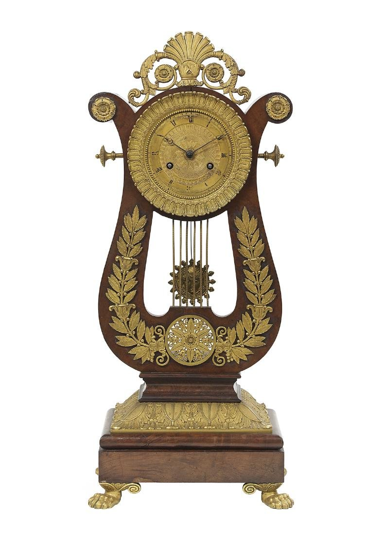 French Gilt-Bronze and Mahogany Lyre-Form Clock
