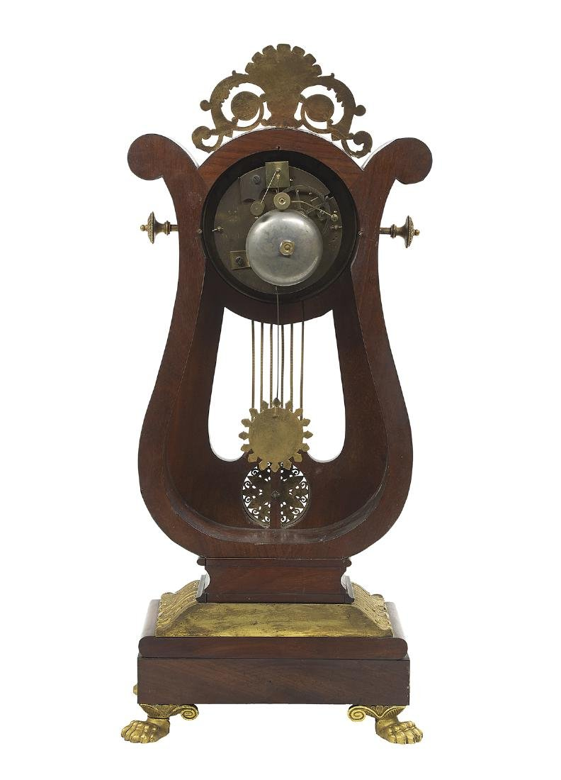 French Gilt-Bronze and Mahogany Lyre-Form Clock - 2