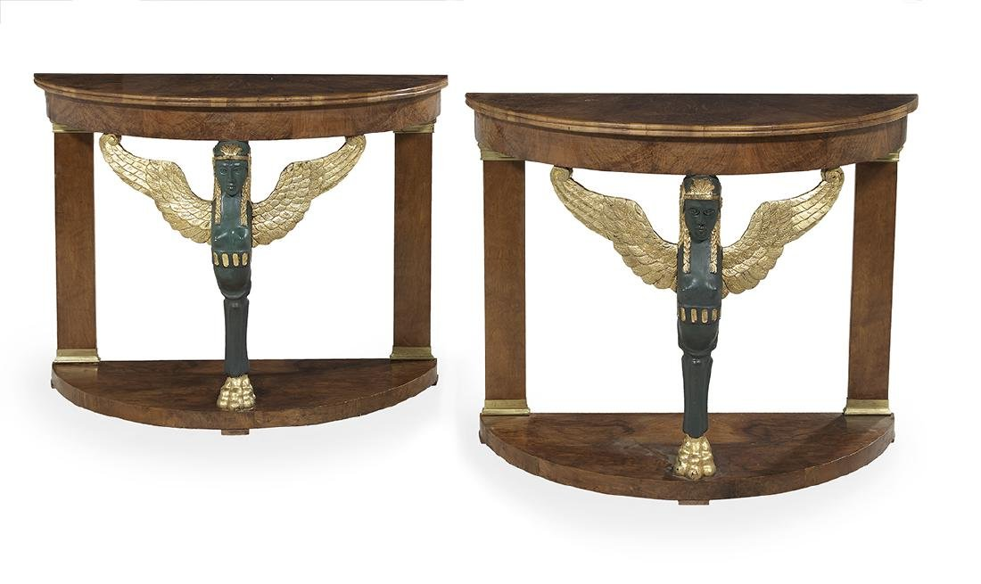 Pair of Empire-Style Walnut Demi-lune Side Tables