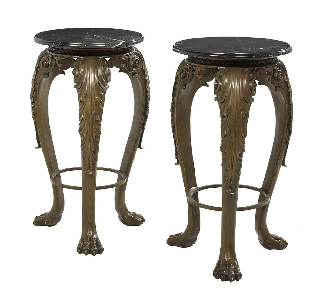Pair of Empire-Style Bronze and Marble-Top Stands