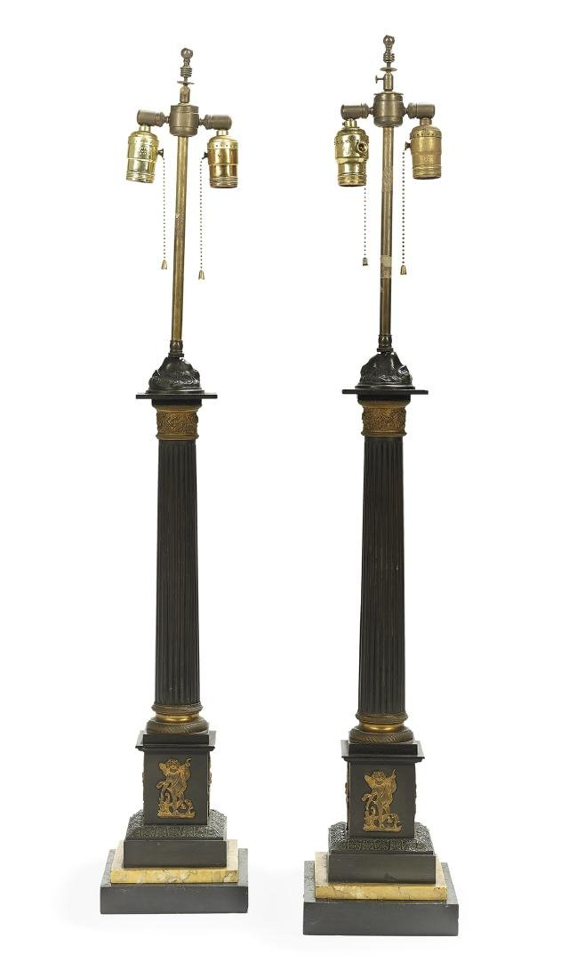 Pair of Bronze and Marble Lamp Standards