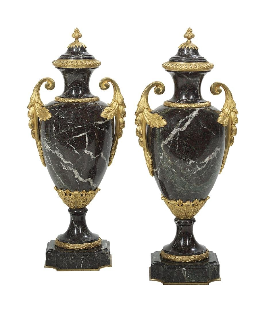 Pair of French Marble and Bronze Garniture Urns