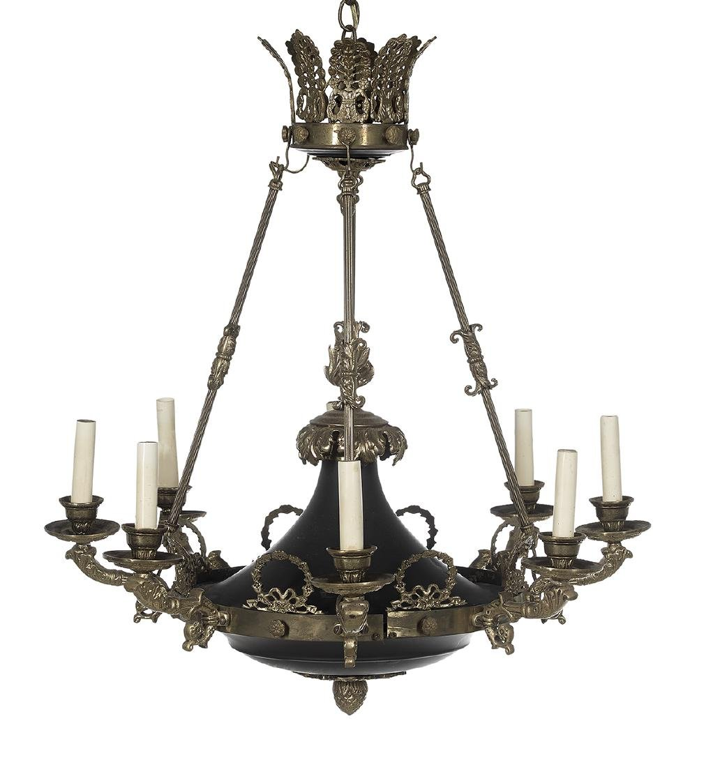 French Empire-Style Brass and Tole Chandelier