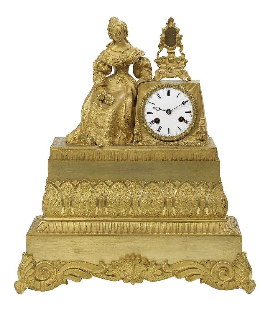 Louis-Philippe Gilt-Bronze Figural Mantel Clock