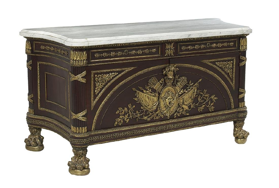 Empire-Style Mahogany and Marble-Top Cabinet - 2