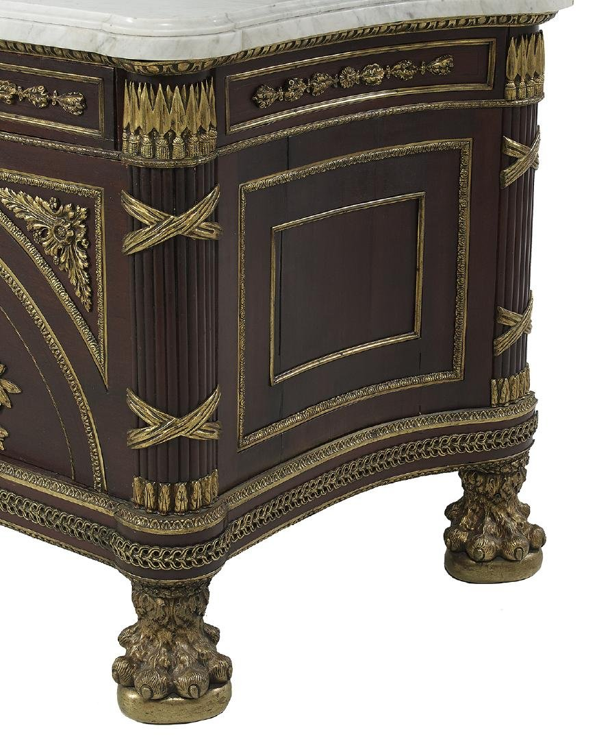 Empire-Style Mahogany and Marble-Top Cabinet - 4