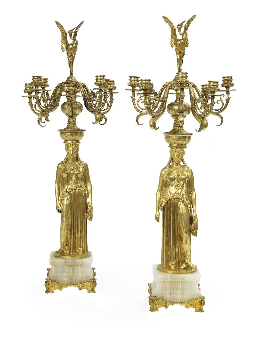 Pair of Barbedienne Bronze and Onyx Candelabra