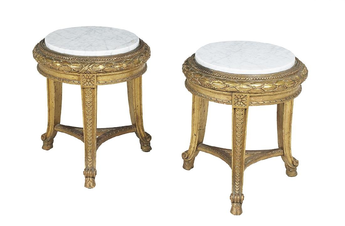 Pair of Empire-Style Marble-Top Tabourets