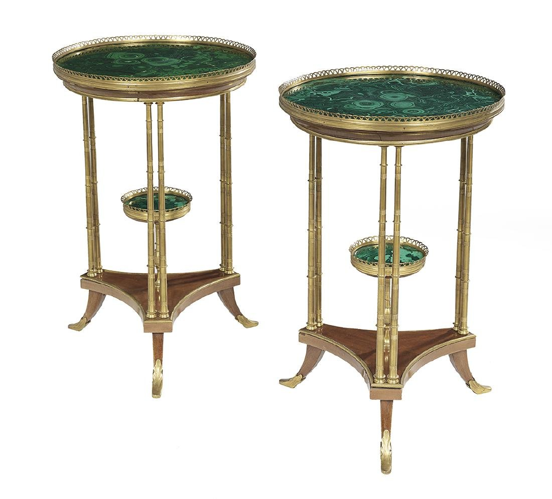 Pair of Directoire-Style Malachite Tables