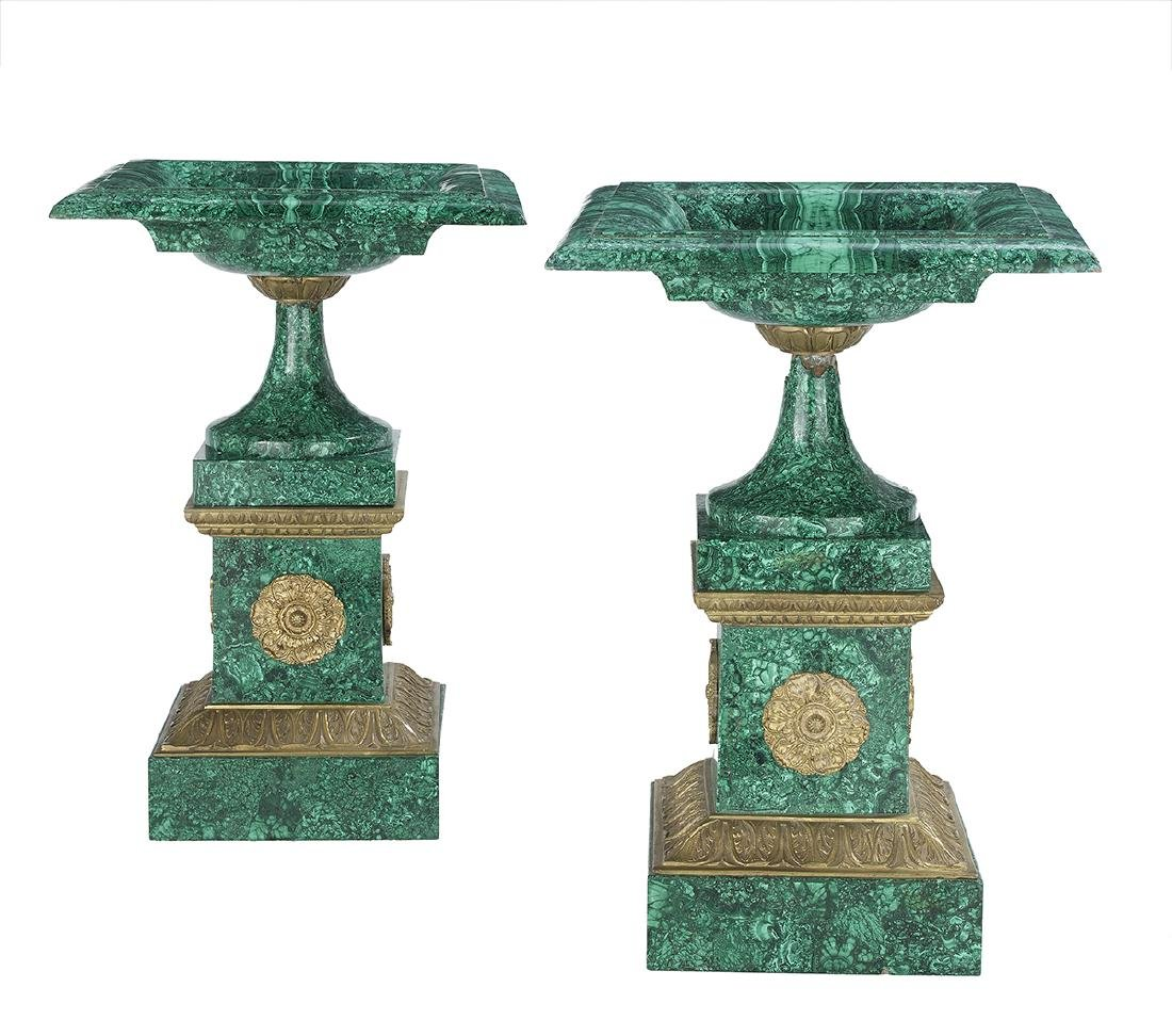 Pair of Empire-Style Malachite Tazzas