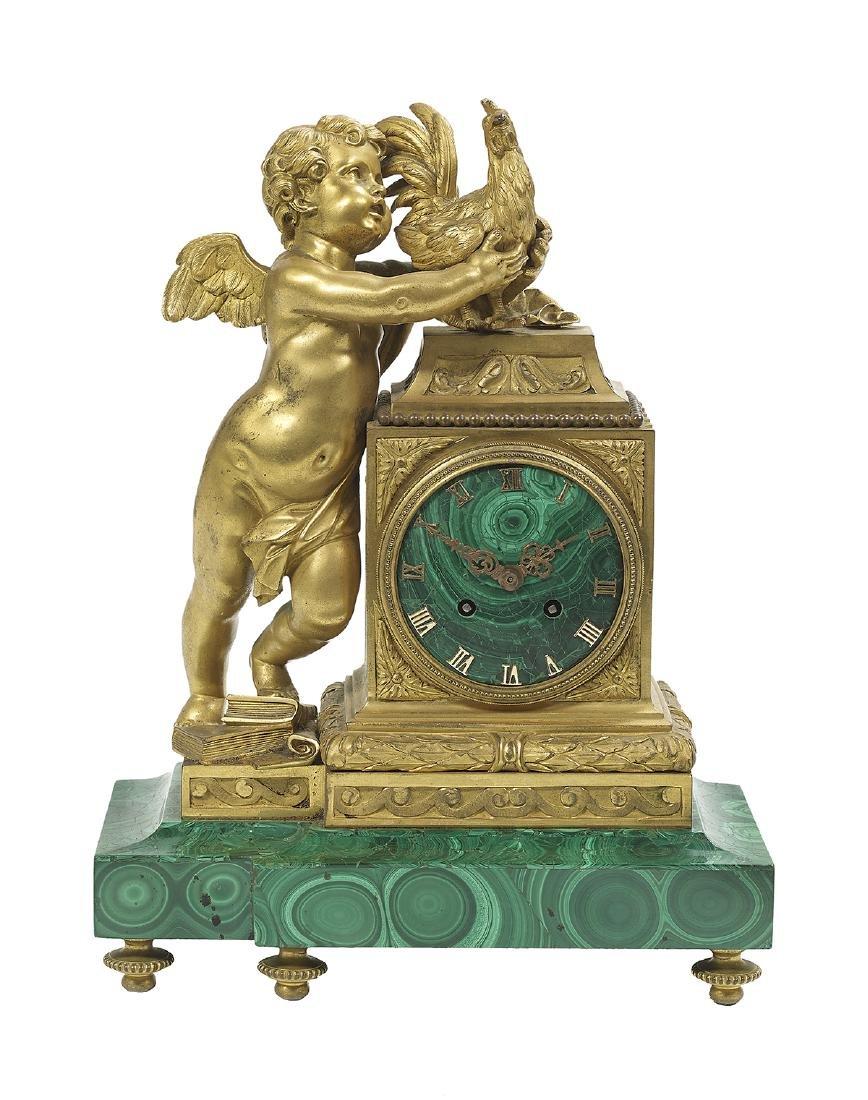 French Gilt-Bronze and Malachite Mantel Clock