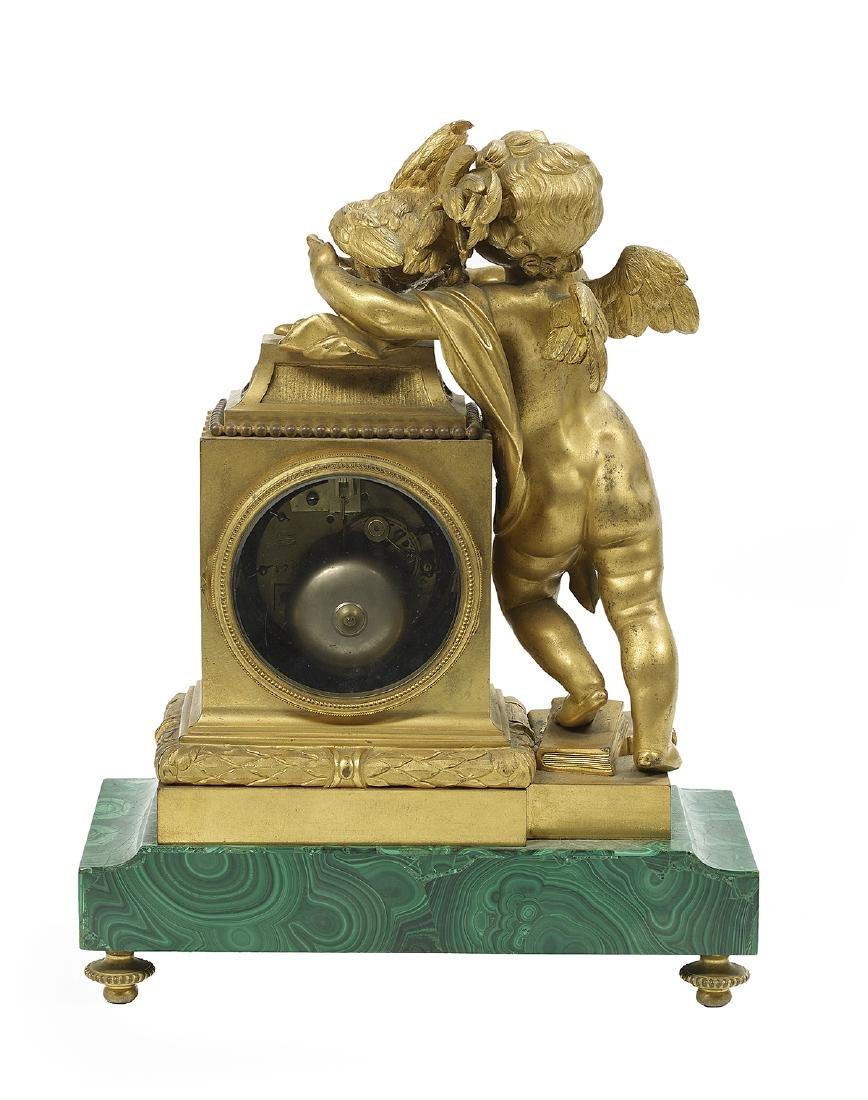 French Gilt-Bronze and Malachite Mantel Clock - 2