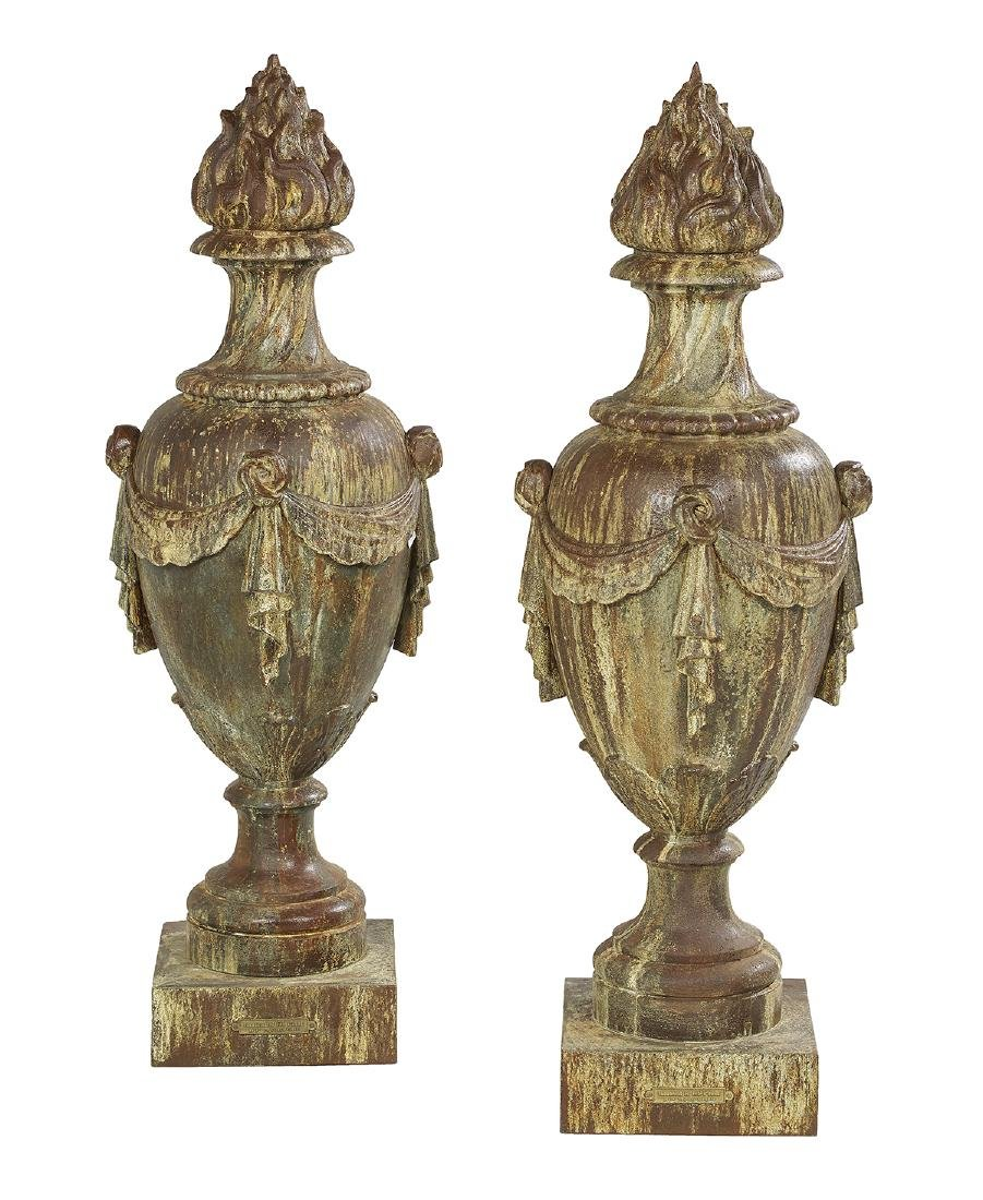 Pair of Large Cast Iron Architectural Urns