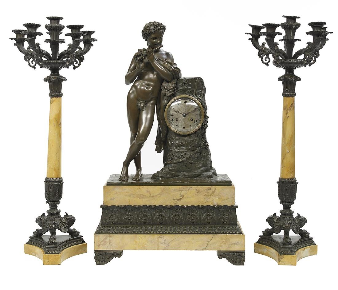 Restauration Bronze and Siena Marble Clock Set