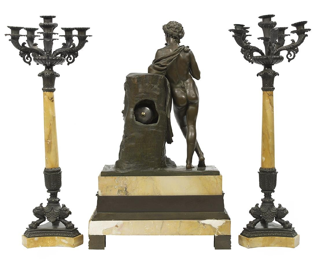 Restauration Bronze and Siena Marble Clock Set - 2