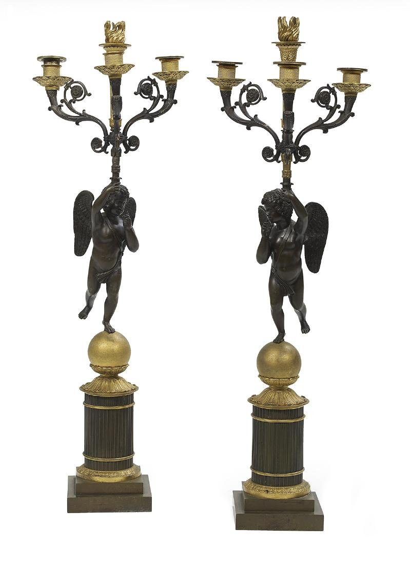 Pair of Restauration Bronze Candelabra