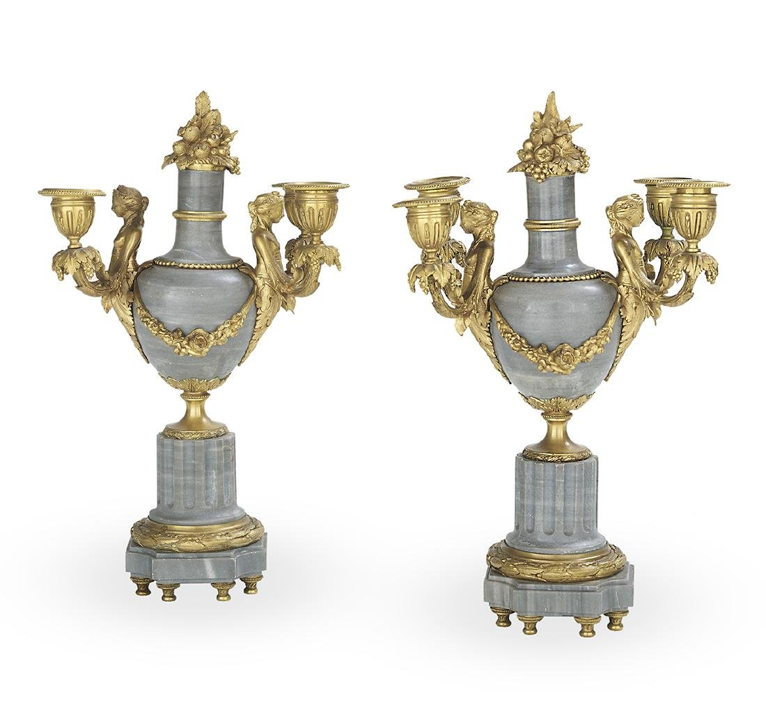 Pair of Belle Epoque Gilt-Bronze Candelabra