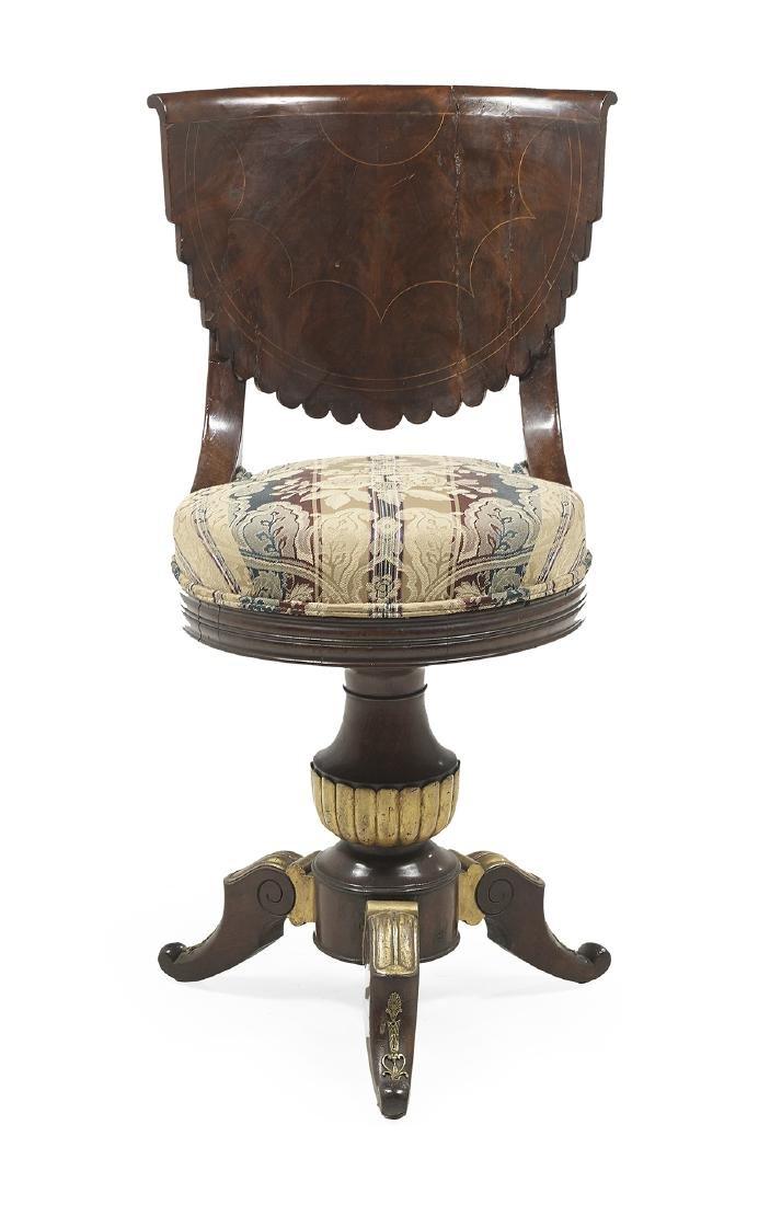 Empire Parcel-Gilt Mahogany Swivel Piano Chair