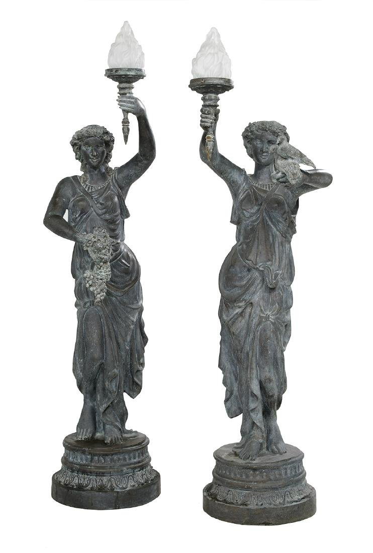 Pair of Classical Cast Bronze Figural Torcheres