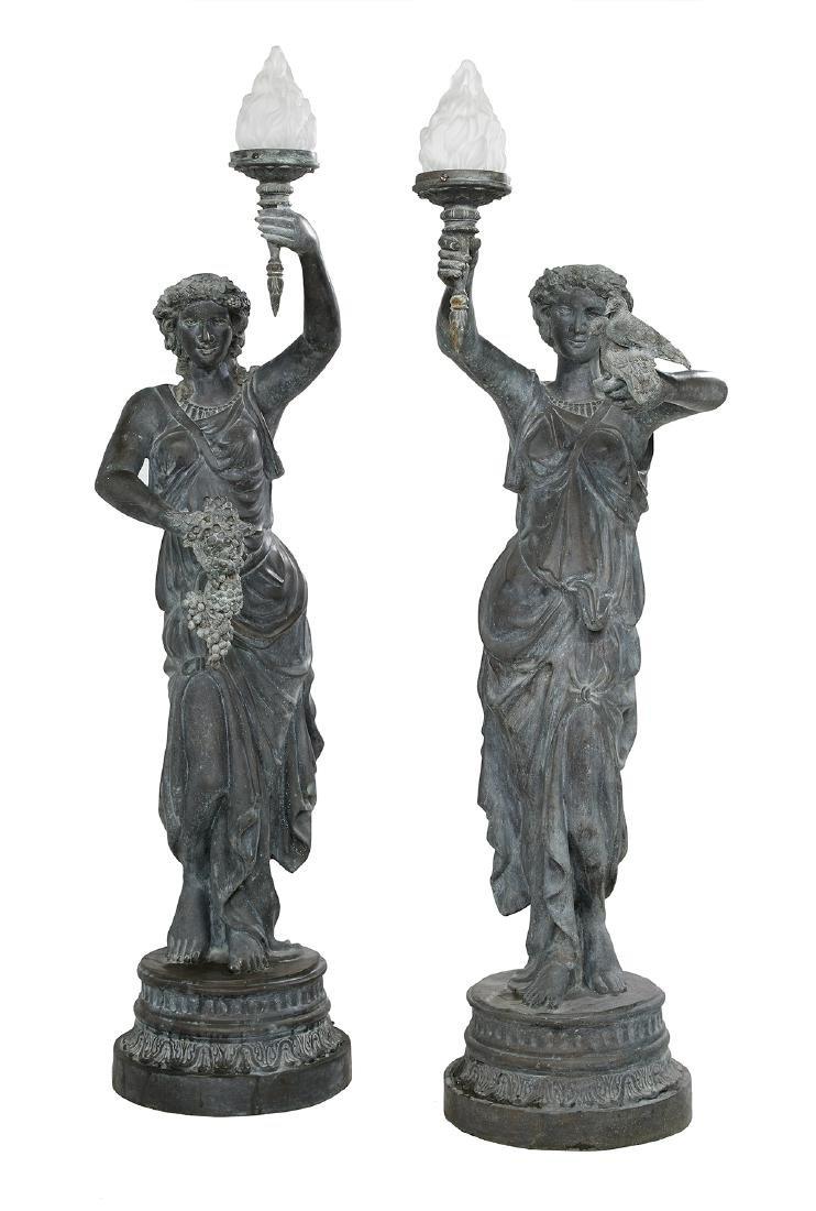 Pair of Classical Cast Bronze Figural Torcheres