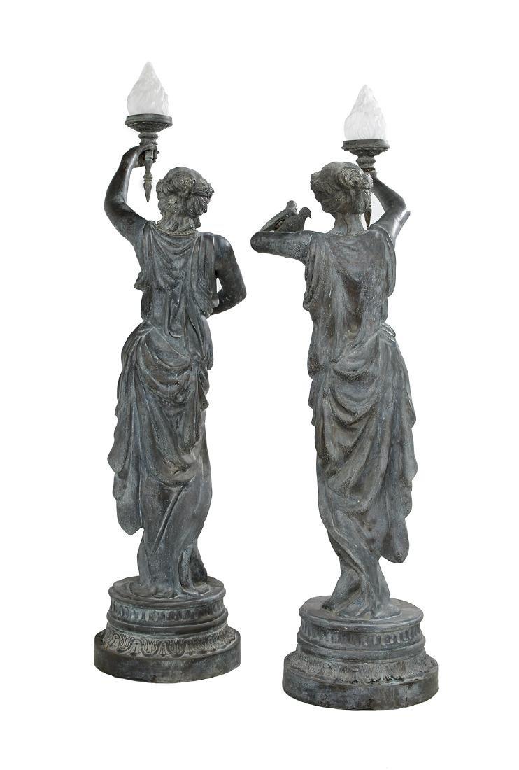 Pair of Classical Cast Bronze Figural Torcheres - 2