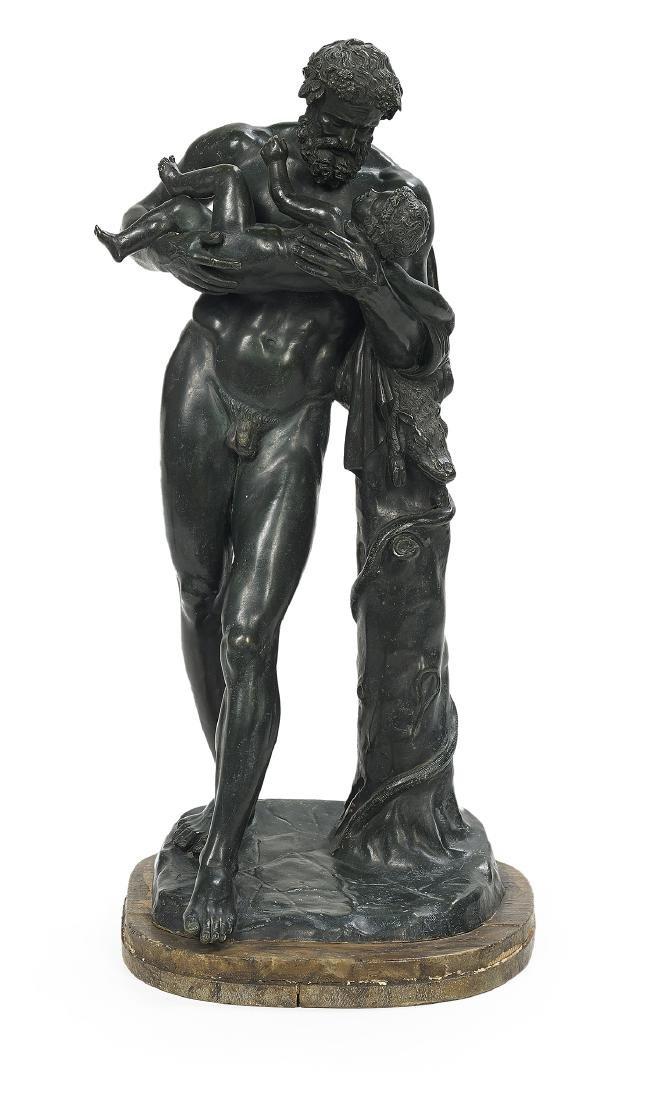 Italian Patinated Bronze of Silenus and Dionysus