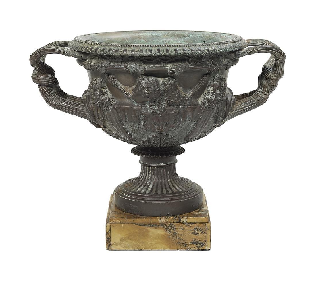 Italian Patinated Bronze and Marble Warwick Vase