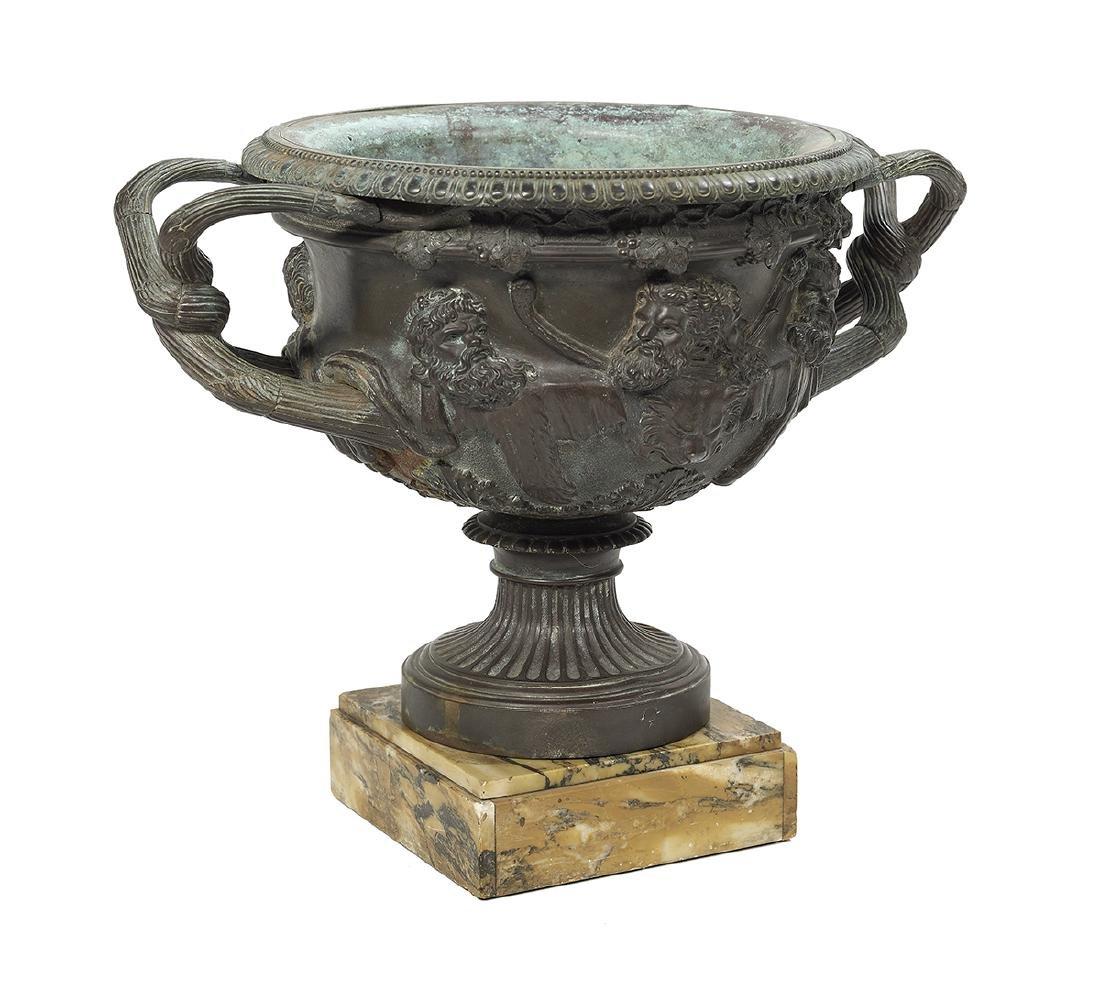 Italian Patinated Bronze and Marble Warwick Vase - 2