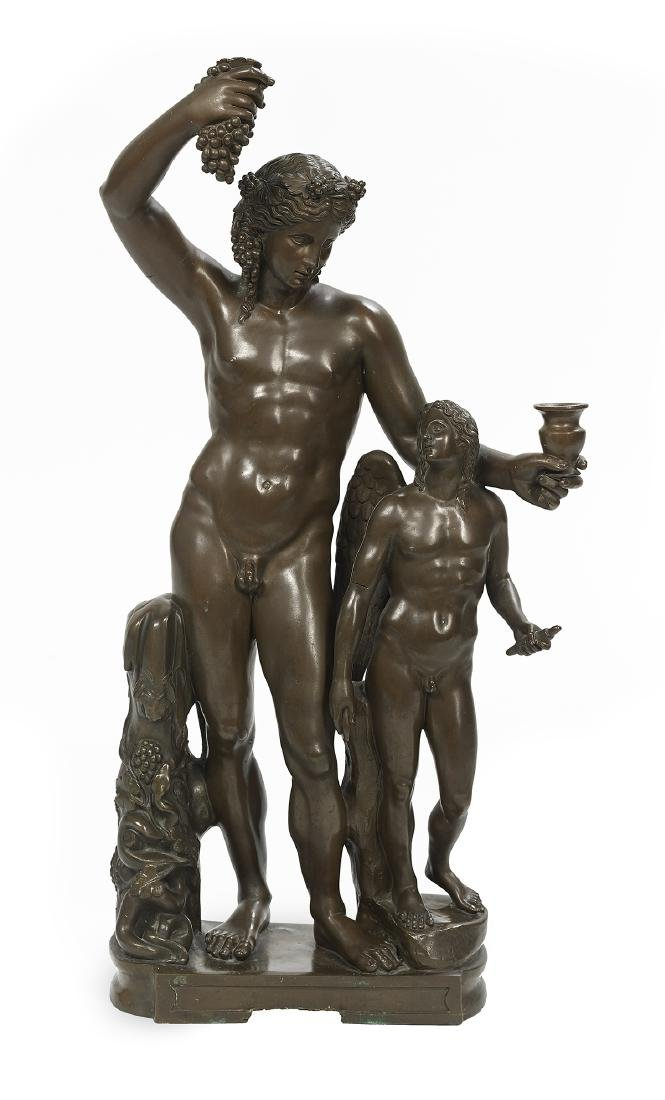 "Italian Patinated Bronze of ""Bacchus and Cupid"""